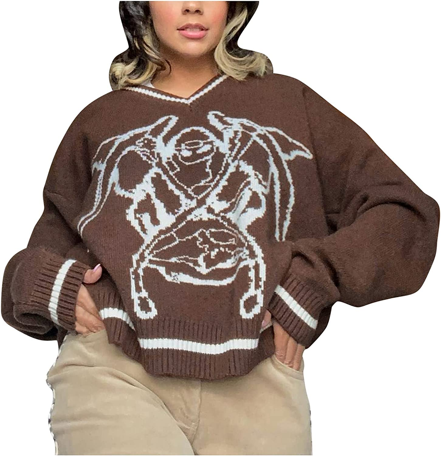 Graphic Cheap mail order shopping Sweaters for Women Vintage Bat Print Denver Mall Long Halloween Slee