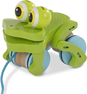 Melissa and Doug MD3205 First Play Frolicking Frog Wooden Pull Toy