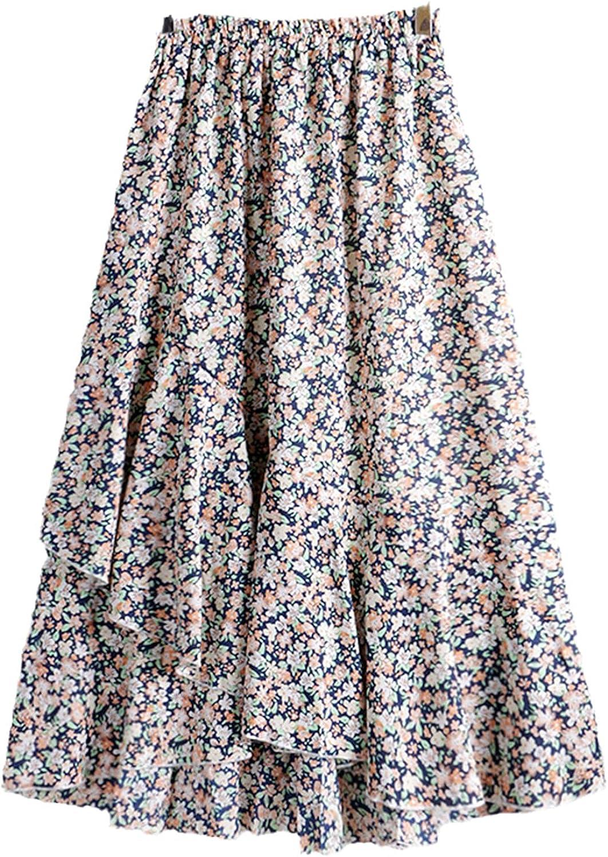 Women Bohemian Floral Print A Line Pleated Long Skirts Summer Ins Drawstring Elastic Waist Midi Skirt