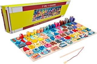 Wooden Number Puzzle Sorting Montessori Toys for Toddlers - Shape Sorter Game- Gift for age 3 4 5 6 year old kids - Presch...