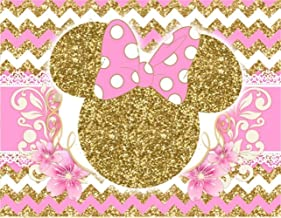 Pink and Gold Minnie Mouse Backdrop Baby Shower for Girl 7x5 Pink Bow Tie White Lace Photography Background 1st Birthday for Girls Customized Vinyl Photo Studio Backgrounds