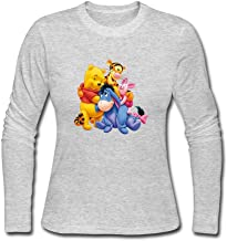 YWT Winnie Ourson Pooh Tigrou Porcinet Piglet Women T Shirts 100% Cotton Fashion Size L Color Gray