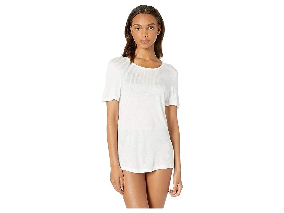 Cosabella Soft Cotton T-Shirt, Bralette and High-Waist Thong Set (Black/White) Women