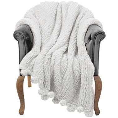 Throw Blanket for Couch - 60x80, Ivory White with Pom Poms - Fuzzy, Fluffy, Plush, Soft, Cozy, Warm Fleece Cover - Perfect for Bed, Sofa