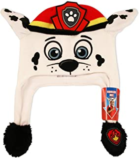 Nickelodeon Boys' Little Paw Patrol Marshall Squeeze and Flap Fun Cold Weather Hat, WhiteRed, Age 4-7
