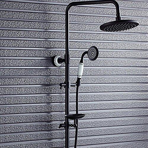 HT Nouvelle salle de bain noire douche en cuivre antique douche exquise de haute qualité robinet de douche thermostatique