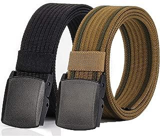 2 Pack Nylon Belt Outdoor Non-Metal Mens Military Web 1.5