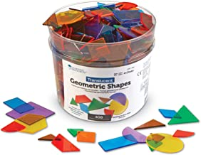 Learning Resources Translucent Geometric Shapes, Early Geometry Skills, Classroom Accessories, Teacher Aids, 408 Pieces, Grades Pre-K+, Ages 4+
