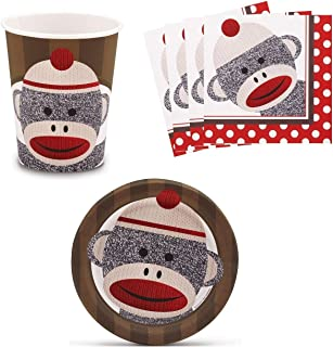 Sock Monkey Red Birthday Party Supplies Set Plates Napkins Cups Kit for 16