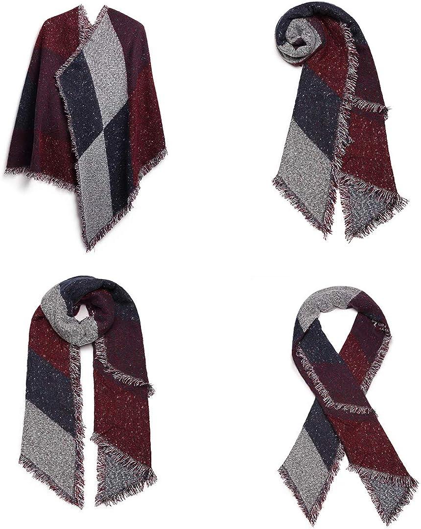 Miss Lulu Donna Sciarpa Scialle Inverno Invernale Grande Quadrato Donna Sciarpa Vestibilit/à Adatta a Tutti Abbigliamento per Moda