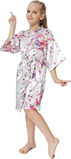 Flower Girl Floral Satin Robes for Spa Party Kids Sleepwear Toddler Wedding Bathrobes