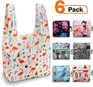 Reusable Grocery Bags Set, Foldable Grocery Bags,Grocery Tote Foldable into Attached Pouch, Polyester Reusable Shopping Bags, Washable, Durable and Lightweight