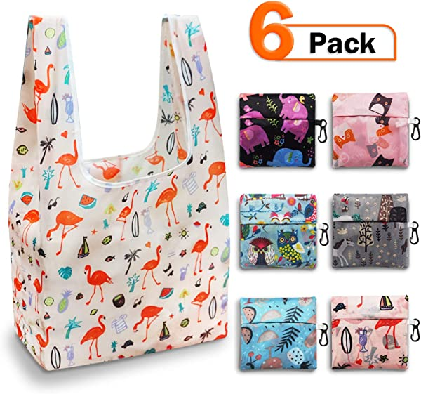 Reusable Grocery Bags Set Foldable Grocery Bags Grocery Tote Foldable Into Attached Pouch Polyester Reusable Shopping Bags Washable Durable And Lightweight