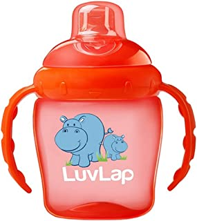 Luvlap Hippo Sipper / Sippy Cup 225ml, Anti-Spill Design with Soft Silicone Spout, 6m+ (Orange)