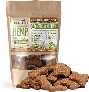 HolistaPet Hemp Dog Treats - Stress & Anxiety Relief - 30 Crunchy Treats - 150mg - Made in USA - Calming Hemp Oil Treats for Dogs - Separation - Aggressive Behavior - Loud Noises - Thunder