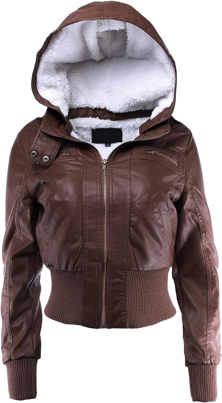 Ladies' Code Women's Fur Lined Sherpa Faux Leather Jacket w Detachable Hood