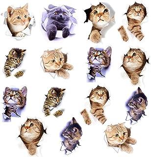 15匹入 3Dかわいい猫 ウォールステッカー ホームインテリアフォト シール式 装飾 おしゃれ かわいい猫 DIY ねこ 動物 立体 騙し絵 写真 カフェ ペット屋 玄関 寝室 子供部屋