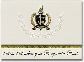 Signature Announcements Arts Academy at Benjamin Rush (Philadelphia, PA) Graduation Announcements, Presidential Elite Pack 25 with Gold & Black Metallic Foil seal
