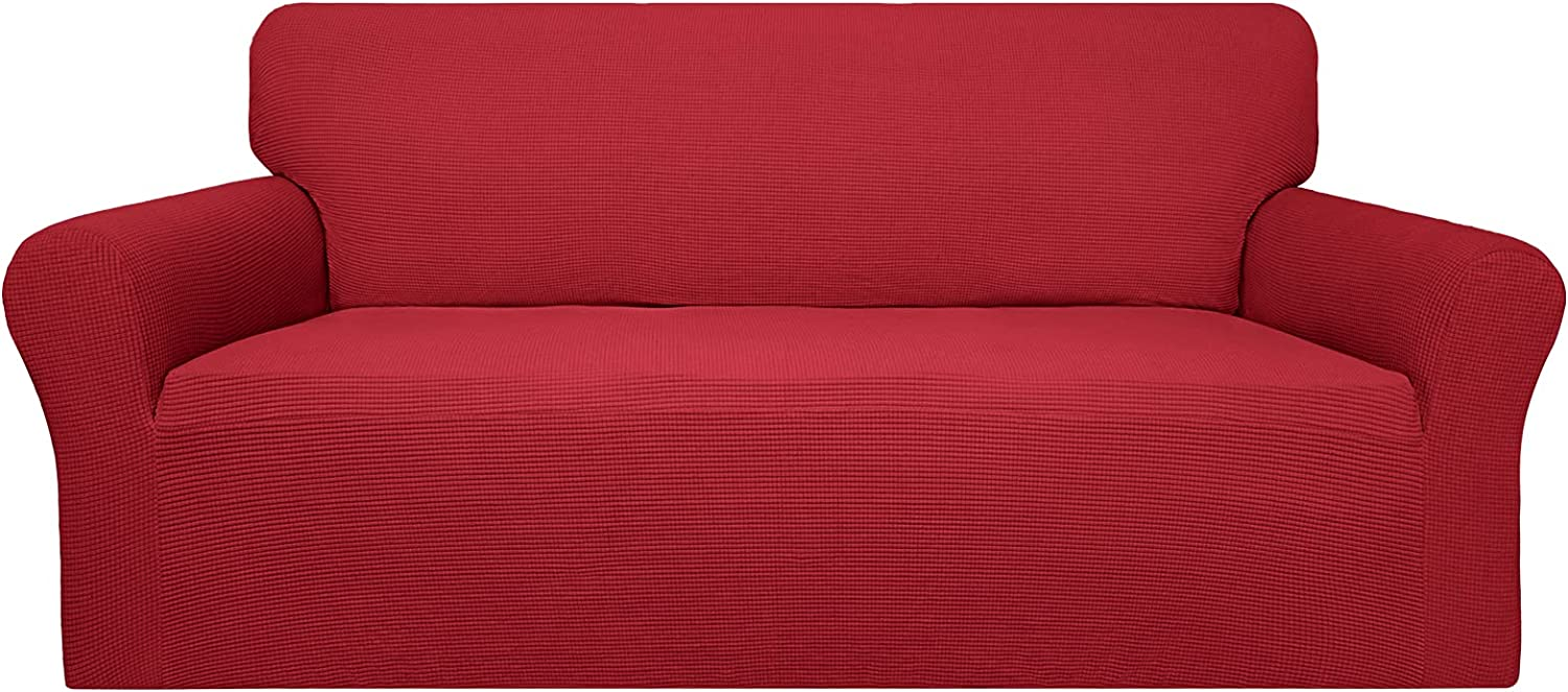 Easy-Going 100% Waterproof Couch Cover,Dual Waterproof Sofa Cover, Stretch Jacquard Sofa Slipcover, Leakproof Furniture Protector for Kids, Pets, Dog and Cat (Sofa, Christmas Red)