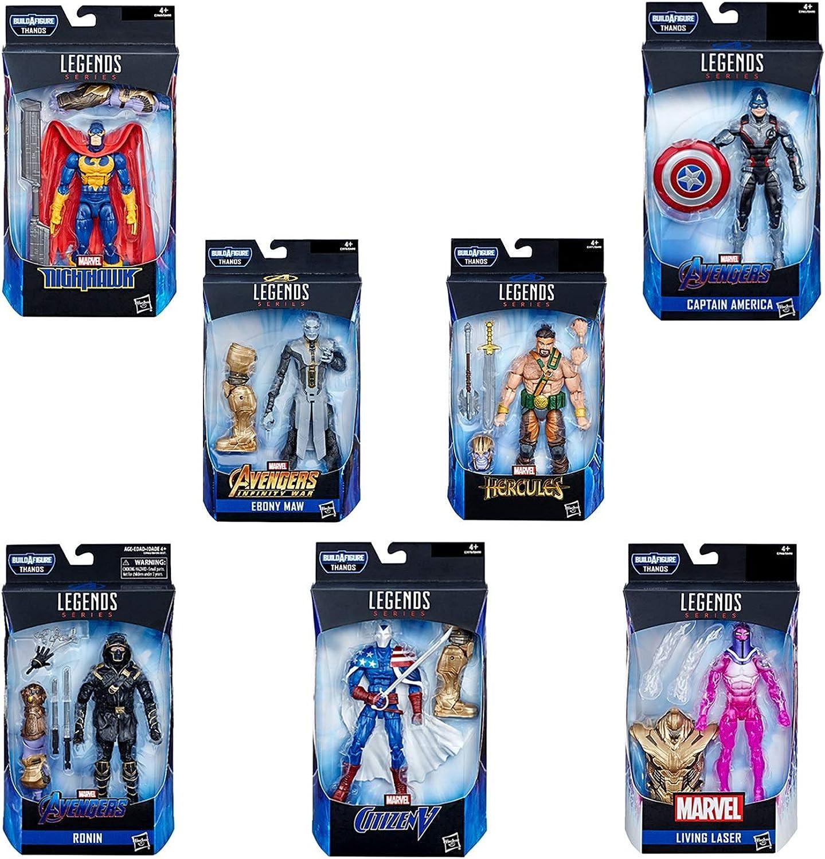 Marvel Avengers Endgame Legend Series Spielzeugset Von 7, Aptain America + Ebenholzschlund + Living Laser + Ronin + Citizen V + Nighthawk + Hercules Actionfiguren-Set