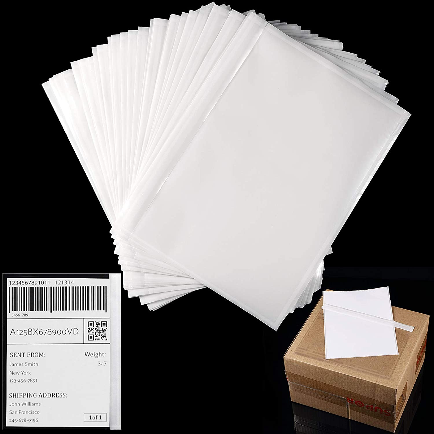 100 Sheets 7.5 x Max 76% OFF 5.5 Inch Quantity limited List Packing Envelopes Adhesive Clear