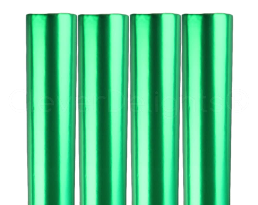 4 Rolls - CleverDelights Metallic Green Wrapping Paper - 30
