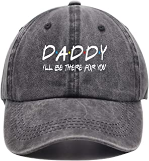 OASCUVER Daddy I'll Be There for You Hat, Father's Day Baseball Cap Adjustable Funny Distressed Dad Denim for Men