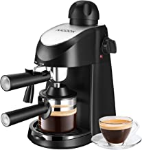 AICOOK Máquina de Café , Cafeteras de goteo, Capuchino y máquina de expresso, Evaporador de leche, 4 tazas de café, Presión de 3,5 bares, 800W, Negro