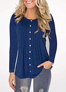 Womens Henley Crewneck Long Sleeve Button Down Pleated Flared Swing Blouse Tops Flare Hem Tunic Shirts