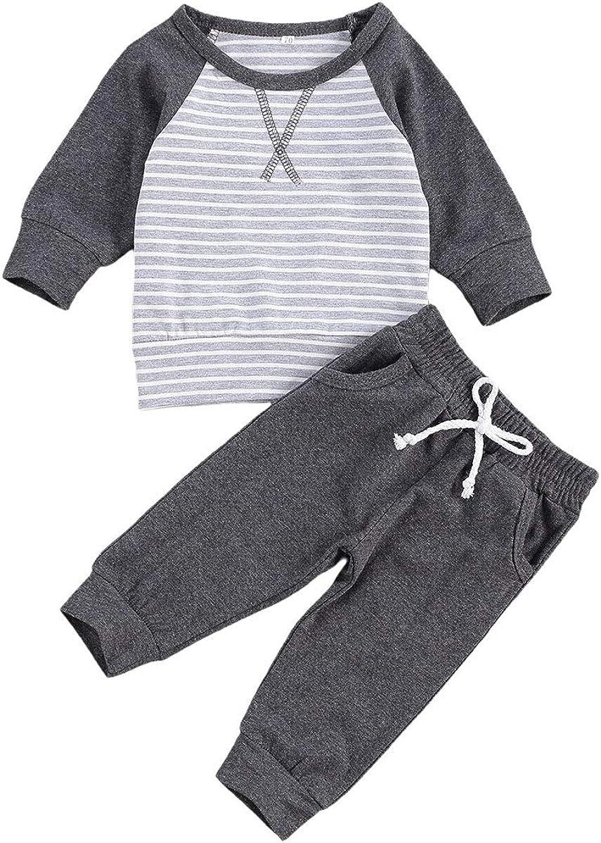 Newborn Baby Boy Girl Fall Pants Set Long Sleeve Solid T-Shirt Top Striped Drawstring Pants 2Pcs Clothes Outfits