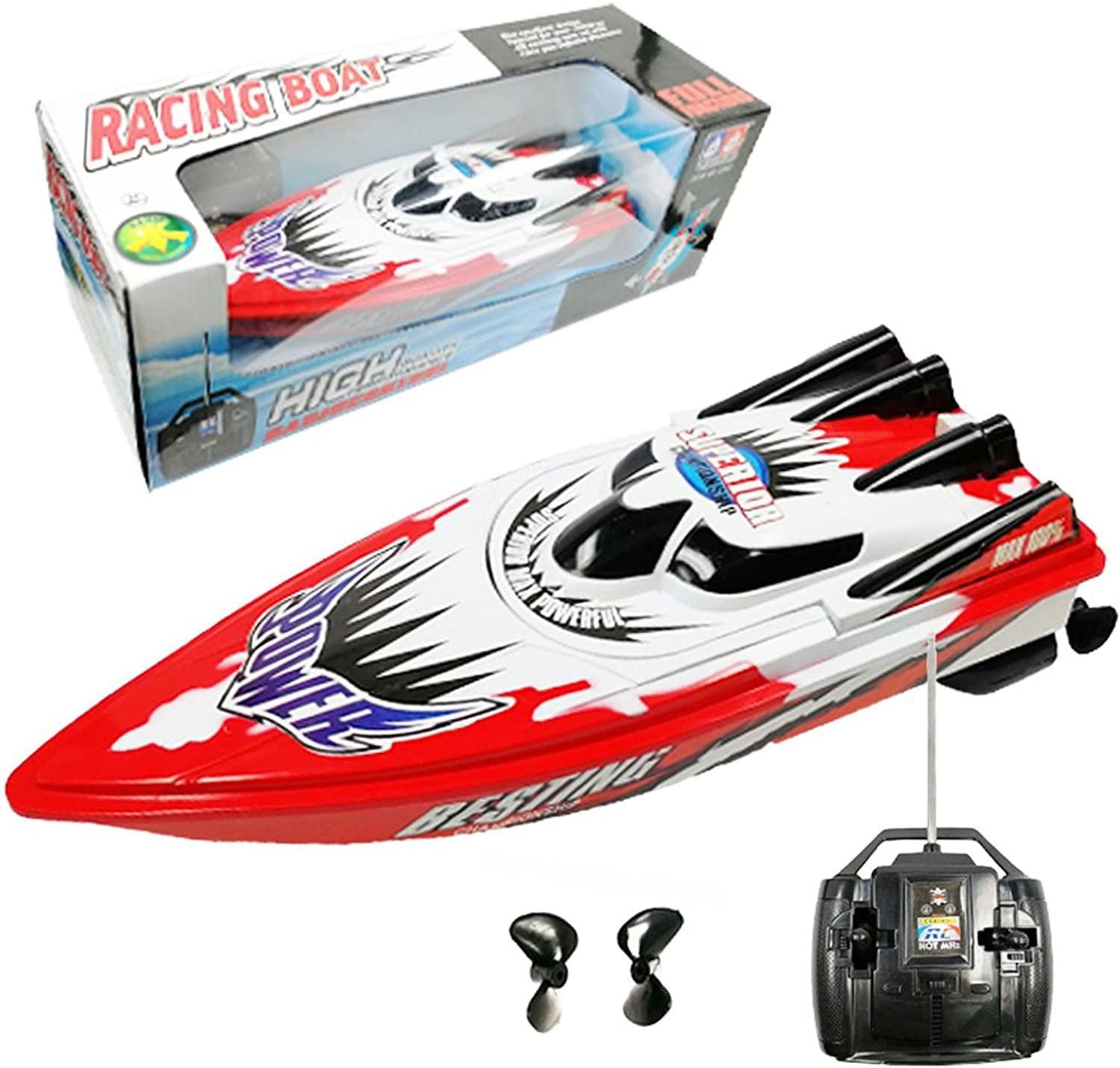 Generic Non Rechargeable High Speed Remote Control Yacht 2 Motors Rapid Speedboat Boat Red