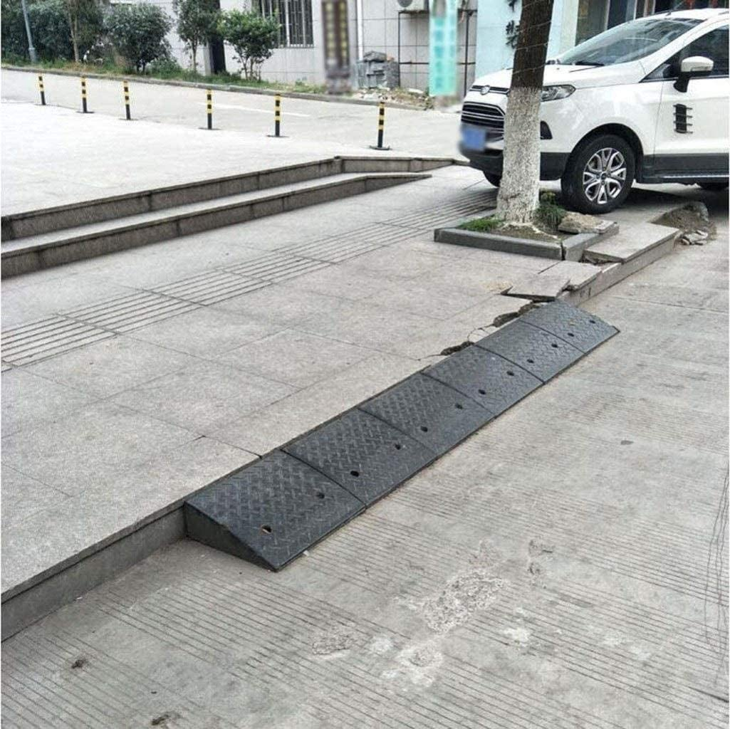 Safety ramp Ramps Curb Heavy Rubber Black Non-Slip Car Curb Multifunction Step Uphill Mat Deceleration Zone Color : Black, Size : 98 25 9CM