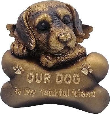 "Comfy Hour 5"" Sleeping Dog Angel On Bone Figurine - in Memory of My Best Friend Bereavement, Bronze Copper"
