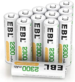 EBL Rechargeable AA Batteries, 2300mAh NiMH Precharged Home Basic Double AA Battery, Pack of 12