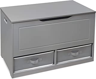 Badger Basket Up and Down Toy and Storage Box with 2 Basket Drawers, Gray/White