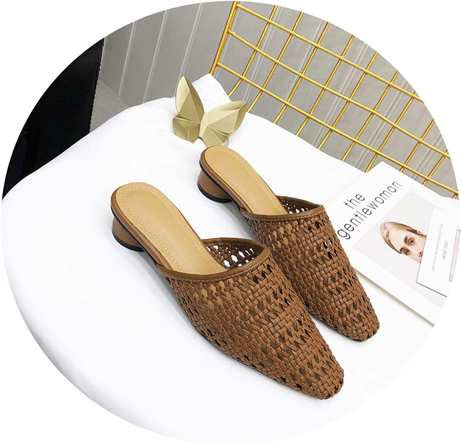 Formerly Slow Heel Mules shoes Women Cane Weaving Slippers Female Slides Ladies Slippers Women Slides