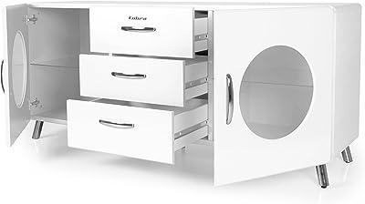 Tenzo COBRA Designer Bahut 2 portes + 3 tiroirs, Panneaux de Particules/MDF, Blanc, 163x43x73 cm