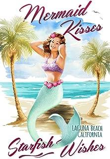 Laguna Beach, CA - Mermaid Kisses and Starfish Wishes - Watercolor (12x18 Fine Art Print, Home Wall Decor Artwork Poster)