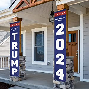 KENPMA Trump 2024 Flag Take America Back Save America Again Large Banners Outdoor Porch Yard Sign Garden Door Wall Decorative Banner - Indoor/Outdoor Decorations