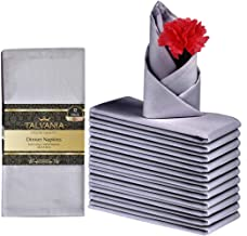 """Talvania Cloth Dinner Napkins - 12 Pack Luxuriously Soft & Hotel Quality Cotton Napkins, Brilliant Fabric Napkins (18"""" X 18"""") Perfect for Events, Hotel & Home Use (Dark Grey)"""