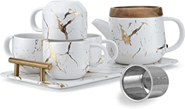 Taimei Teatime Ceramic Modern White Teapot Set, 25-oz Tea Sets for Adults, Marble Design Teapot with Infuser and Tea Cup S...
