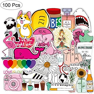 Watter Bottles Laptops Stickers 100 Pcs Extra Durable Aesthetic Stickers Vinyl Decals for Teens Girls Bumper Helmet iPad Luggage Travel Case Car Motorcycle Bicycle Bike Skateboards Sticker (Cute)