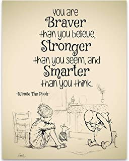 You Are Braver Than You Believe - Winnie The Pooh - 11x14 Unframed Art Print - Great Child/Boy/Girl/Nursery Room Decor, Also Makes a Great Gift Under $15