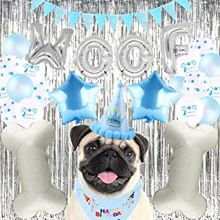 HankRobot Dog/Puppy Birthday Party Decorations(30 Pack) WOOF Balloon Banner Dog Paw&Bone&Dot Balloons Pet Hats Triangle Bid Great Birthday Outfit-Perfect for Your Dogs