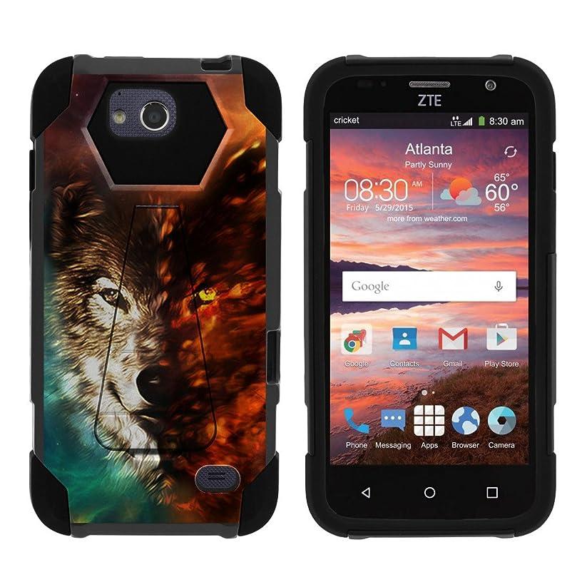 MINITURTLE Hybrid Case Compaitble with ZTE Majesty Pro/Pro Plus [Shock Fusion] Kickstand Case with Hybrid Layers - Wolf