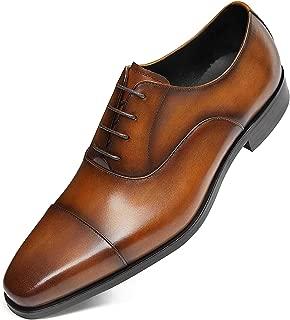 GIFENNSE Men's Leather Oxford Dress Shoes Black Formal Shoes Brown Dress Shoes Men