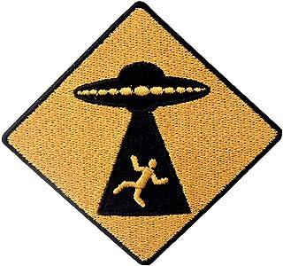 Toppa ricamata da applicare con ferro da stiro o cucitura, tema: Attenzione UFO Appear