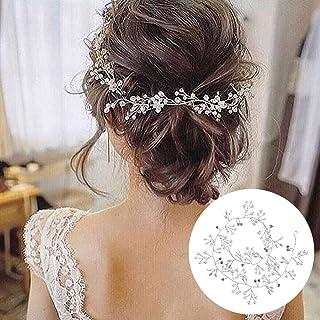 comprar comparacion 50cm Diadema Novia Boda, Tocados de Pelo Novia Diadema Cristal con Perlas Bridal Hair Vine Joyas para el Cabello, Adornos ...