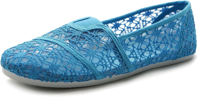 Ollio Women's shoes Slip On Lace Ballet Breathable Flat