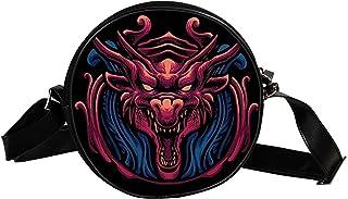 Yuzheng Runde Umhängetasche rotes Drachenmuster Mode Geldbörse Doppelreißverschluss 17cm